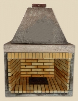 Fireplace with firebricks side corner